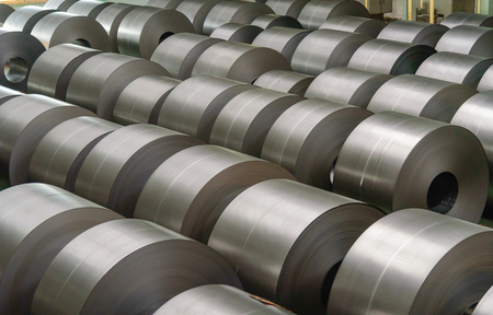 Cold rolled steel coil at storage area in steel industry plant. Archivio Fotografico
