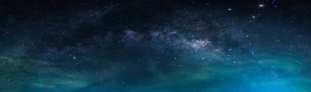 Landscape with Milky way galaxy. Night sky with stars and sea. Stock Photo