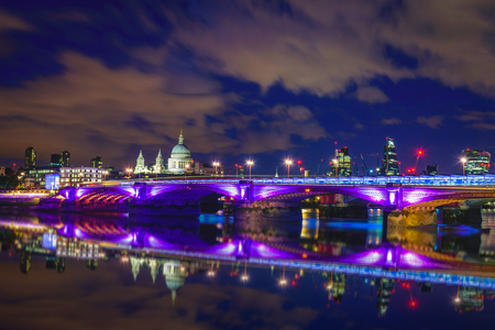 Blackfriars bridge at night, London, UK Stock Photo