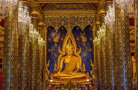 PHITSANULOK, THAILAND - APRIL 22, 2017 : The Chinnarat buddha sculpture at Wat Phar Sri Rattana Mahathat woramahawihan temple, Phitsanulok in Thailand.