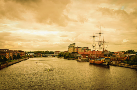 Classic Boat on river Tees at sunset In Stockton-on-Tees, UK. Stock Photo