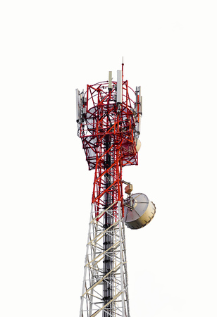Telecommunications antenna tower for mobile phone isolated on white background.
