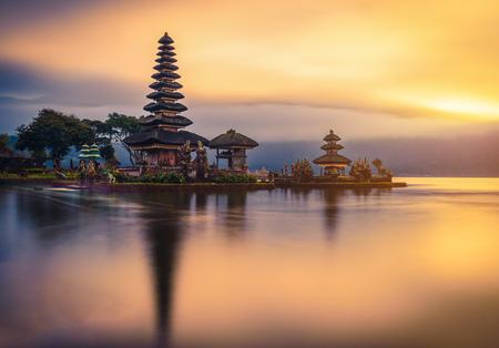 Pura Ulun Danu Bratan, Hindu temple on Bratan lake landscape at sunrise in Bali, Indonesia.