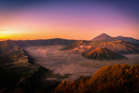 Mount Bromo volcano (Gunung Bromo) at sunrise with colorful sky background in Bromo Tengger Semeru National Park, East Java, Indonesia.