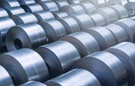 Cold rolled steel coil at storage area in steel industry plant. 版權商用圖片