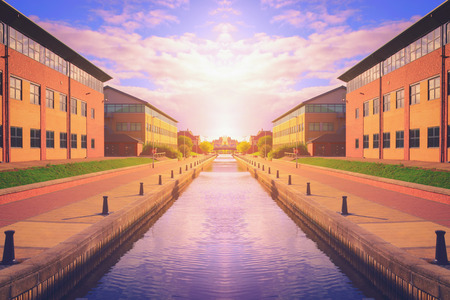 Canal at sunset in Stockton on tees, North Yorkshire, UK