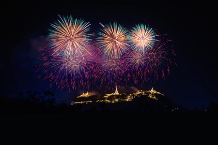 Fireworks show over Phra Nakhon Khiri Historical Park (Khao Wang), Petchaburi, Thailand. Stock Photo