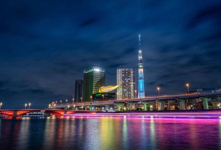 Tokyo, Japan-Jun 17, 2018 : Tokyo Skytree tower at night in Asakusa, Tokyo, Japan. Landmark in Japan. Redakční