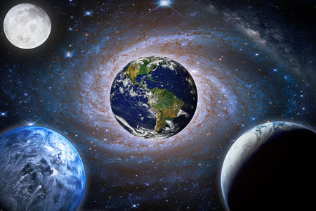 Landscape galaxy. Planet, Earth, moon view from space with Milky way galaxy.