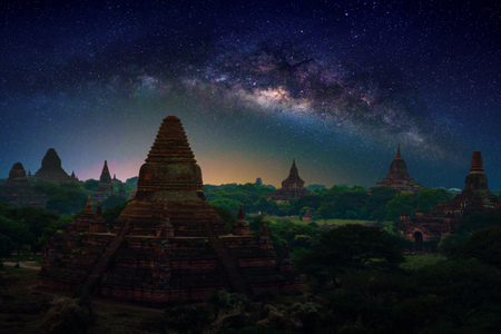 Landscape image of Ancient pagoda with milky way at sunset in Bagan, Myanmar. Stock Photo