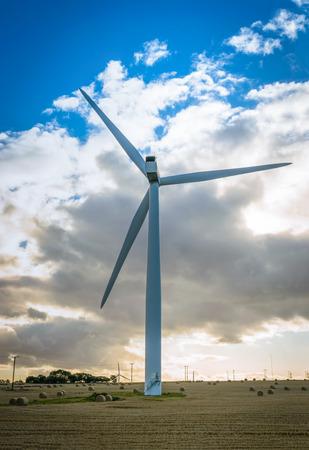 Wind turbine farm on a hillside in England. Stock Photo
