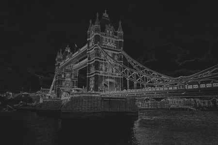 Pencil drawing of a Tower bridge on black background. Pencil sketch filter.