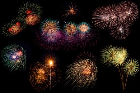 Set of colorful fireworks on black background.