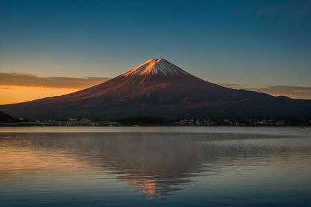 Mt. Fuji over Lake Kawaguchiko at sunrise in Fujikawaguchiko, Japan.