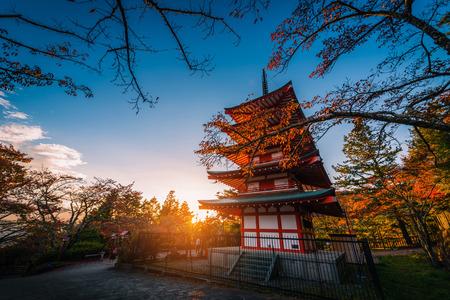 Chureito Pagoda and red leaf in the autumn on sunset at Fujiyoshida, Japan. Editorial