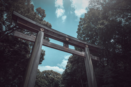 Torii gate of Japanese temple in the spring on daytime in Tokyo, Japan. Vintage tone