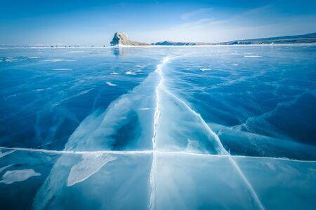 Natural breaking ice in frozen water at Lake Baikal, Siberia, Russia.