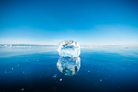 Close-up of natural breaking ice in frozen water on Lake Baikal, Siberia, Russia. Stock fotó