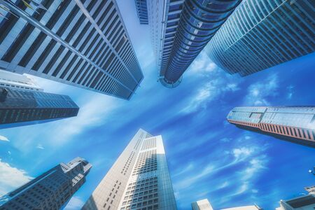 Modern buildings on blue sky in downtown, Singapore.