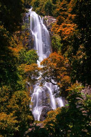 Sunantha waterfall with autumn tree in Nakhon Si Thammarat province , Thailand.