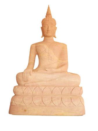 Sandstone Buddha statue on white background Stock Photo - 16687960
