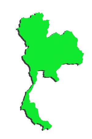 3D Map of Thailand of green on a white background. photo