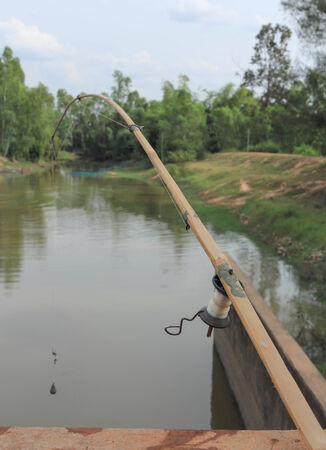 A fishing rod is made up of folk wisdom rural areas in Thailand. photo