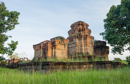 Prasat Nong Hong It is a small archaeological site consisting of three pagoda, a brick base on the base of laterite, a Cambodian art which was around the 16th century. Stock Photo