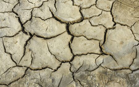 Land in the Thai countryside that is cracked due to drought 版權商用圖片