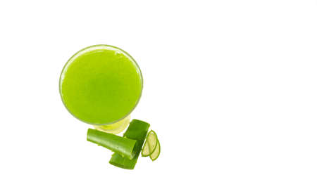 Aloe vera juice isolated on white background 免版税图像 - 159138507