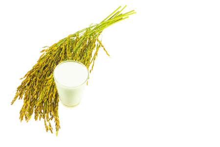 Rice milk isolated on a white background 免版税图像 - 159352077