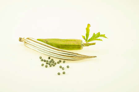 Dried okra isolated on white background