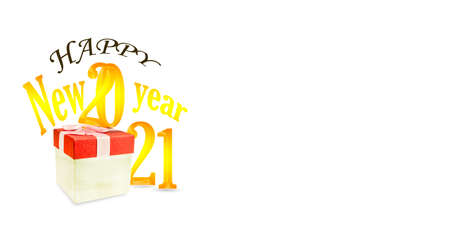 New Year Gift Box 2021 isolated on white background. 免版税图像