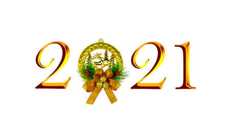 New Year 2021 isolated on white background.