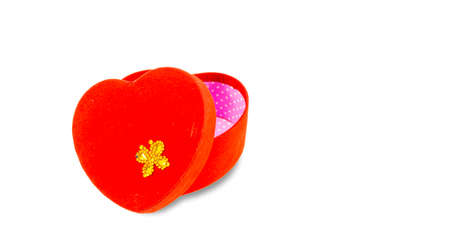 Heart shaped gift box isolated on white background.