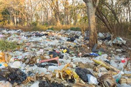 THAILAND,BURIRAM - FEBRUARY 2,2021 :Rural wastes that lack good management and cause environmental pollution. 新闻类图片