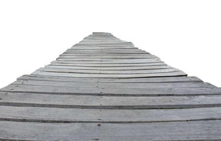 Wooden bridge isolated on white background