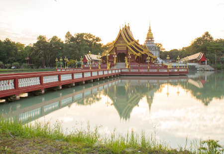 Wat Pa Lahan Sai is a temple with a beautiful construction model of Buriram Province, Thailand. 免版税图像