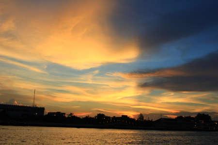 chao phraya river: Sunset in Chao Phraya river
