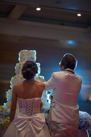 bride and groom cut rustic wedding cake .