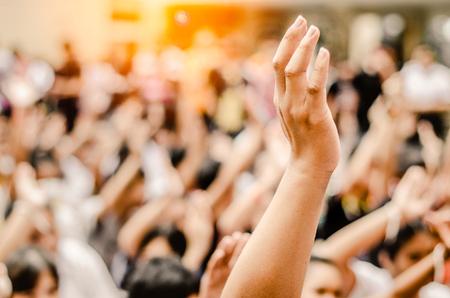 Levantar la mano para participar, votar, Foto de archivo