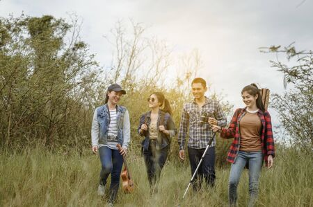 The Asian Friends Tour group enjoys hiking, trekking and watching animals, traveling and relaxing at sunset with happiness and smiles.