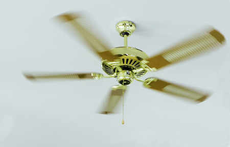 Golden ceiling fan, Gold ceiling fan, ceiling fan are rotating, ceiling fan are running , ceiling fan are rolling, electronics in home, Cooling air by ceiling fan