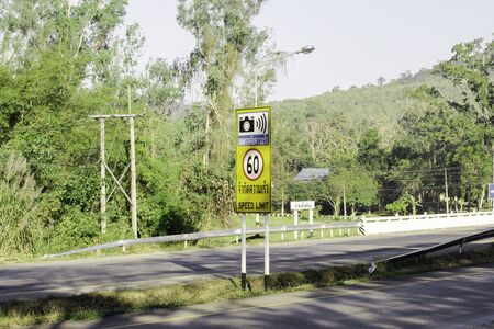 Speed limit camera sign warning, Nakhon Ratchasima Province, Thailand - Jan 4, 2020, Speed limit sign on main road on the mountain