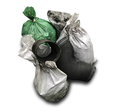 Garbage bag in factory on white background, Pile of leftover scrap from repaired machine, Maintain machine and take of unused part, Clipping path