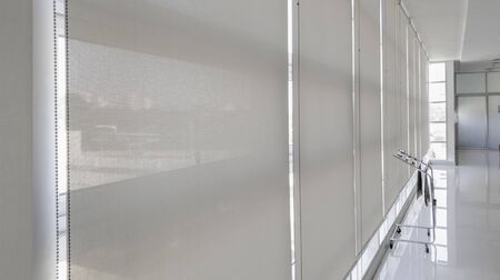 Abstract background of sunshade curtain in building, Sunproof curtain in office, Large glass wall
