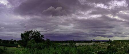 Dark dramatic landscape of sky clouds