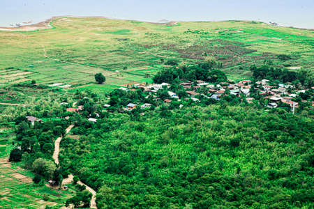 Top view of beautiful green fields and village among green forest. Green young sprouts and countryside home in Thailand, Aerial shot of yellow paddy and large swamp