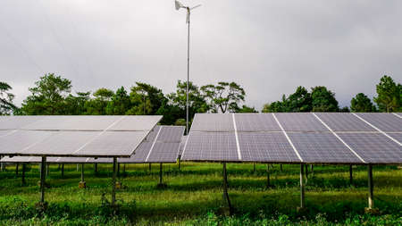 Photovoltaic modules for renewable energy, Alternative power energy, Combined power generations system of windmill and solar module system, concept of sustainable resources Banco de Imagens
