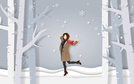 Paper art and craft style of winter season, A happy woman wearing clothes and scarf standing on snow floor with snowing in the forest Ilustracja
